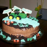 Tractor 2Nd Birthday Cake Chocolate Ganache icing...used a metal tractor so my son could have one to play with. Dirt made out of chocolate cookie crumbs; vegetables/...