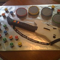 Guitar Hero I made this cake out of buttercream and fondant for my son's 4th birthday.