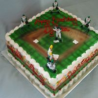 "Baseball 10"" square cake, buttercream icing, all colors airbrushed"