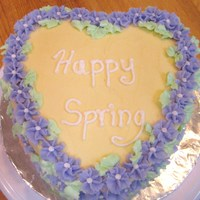 Happy Spring Heart shaped cake with drop flowers