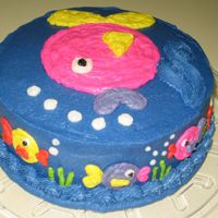 Birthday Fish   Double layer white cake with buttercream frosting and fun fish.