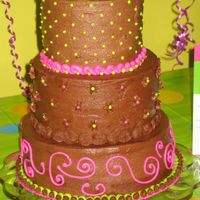 3 Tier Chocolate Birthday Cake  This is my first cake after taking Wiltons Class 1. I made this cake for my sister's surprise birthday party. There are 3 layers per...