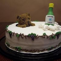Groundhog's Day Wine Tasting Cake White cake with champagne buttercream frosting and filling. The groundhog is made of cake and the wine bottle is fondant. This was for a...