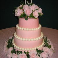 "Quinceanera Cake This was my first 4 tier cake. It is a golden vanilla cake with strawberry filling, buttercream icing, and marshmallow fondant. The ""..."