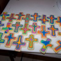 Tie Dye Baptism Cookies I made these for a little boy's baptism, NFSC and royal icing.