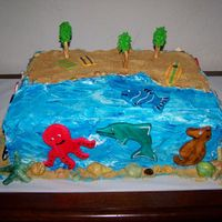 Under The Sea This was my daughter's class cake for a cake auction at her school. I had each kid in her class cut and pick a sea animal out of...