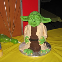 Yoda Vanilla cake w/ RI covered in fondant. Head arms and feet are RCT.