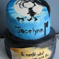 Coraline Choc. cake with PB mousse and choc icing. Scenes painted on fondant. I am no longer doing cakes during the summer due to fondant problems...