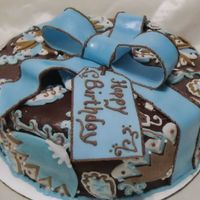 Vera Bradley Java Blue   The cake is chocolate with chocolate icing. fondant bow & layered fondant cut outs with royal icing piping. Thanks for looking