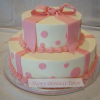Pink Birthday Cake Buttercream icing with fondany accents and gumpaste bow