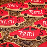 Racing Car Cookies Coordinated with the Race track cake