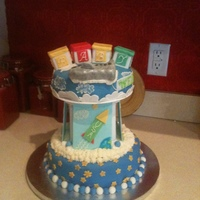 Space And Airplane Baby Shower Cake