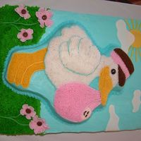 First Baby Shower Cake Stork is pineapple cake; base cake is 1/2 chocolate and 1/2 white.