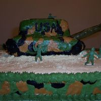 Army Cake  They asked for an army cake and after browsing through the gallery this is what I came up with, It is all BC but the gun is a pretzel rod...