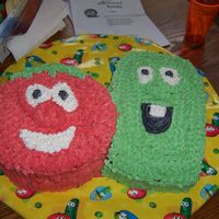 Bob And Larry   Veggie Tales birthday! Bob was a 10 inch round 2 layer white cake and Larry was a single 13 X 9 shaved in areas. All butter cream