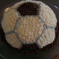 Soccer Ball  I baked this cake for my sons to take to their soccer camp party. I used the Wilton soccer ball pan. The frosting is buttercream and...