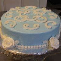 Birthday Cake For A Friend Used scroll press on the top. White roses and bead border.