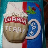 50:th Birthday Cake for a msn that likes Blackburn Rovers (colours and logo) and Dorada Beer...Chocolate mud cake and Baileys cream,sp decor.