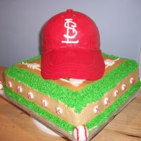 Baseball Cap RBC hat, fondant brim the rest buttercream.