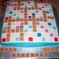 Scrabble Cake Butter cream frosting fiondant s quares