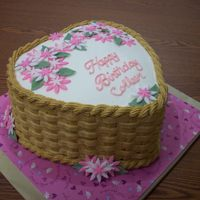 Basket W/flowers Buttercream icing with Fondant flowers