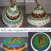 Giraffe Cakes The top cake is a baby shower cake request, nothing too fancy to say about that one. The bottom cake was covered in fondant and colorflow...