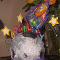Zoom Around The Moon My nephew asked for a moon and rocketship cake for his 3rd birthday, and this is what I came up with. I covered the ball cake in the MMF (...