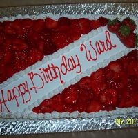 Strawberry Birthday This is an awesome strawberry cake. Everyone loves this and always asks me to do it for them. It worked really well for a 4th of July cake...
