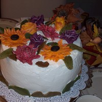 Flowers For Fall This cake is a round chocolate with whipped cream that is stabilized. The flowers are colored fondant tipped in silver