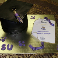 Lsu Graduation Cap This was for two people graduating on the same day from the same family! Bottom tier was yellow/chocolate the top was butter pecan with...