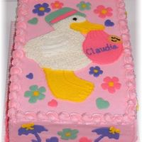 Stork Cake   9x13 double layer - triple chocolate fudge cake - raspberry filling- VBC icing- FBCT stork and flowers-