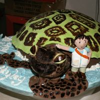 Diego And The Green Turtle Made for a little explorer! Hand painted green turtle with Diego figurine. I tried to make it as realistic as possible, except for the...