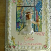 Katie's Communion BC with edible image, MMF flowers and girl.