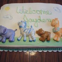 Baby Jayden Simple chocolate cake with MMF animals that matched the napkins.