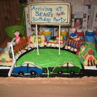 Train Cake Grandson's 4th birthday cakeYellow sheet cake with half oreo cookie and van choc chip pudding filling. Top is snickrdoddle 3-d train...