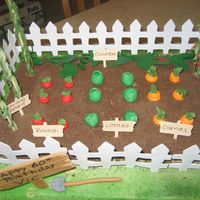 Img_0300.jpg veggie garden airbrushed green for grass, all fondant veggies except string beans and tomato plants, these are made of royal icing. Paper...