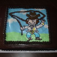 Cowgirl Cowgirl pic is a BC transfer, cake is chocolate with chocolate fudge icing
