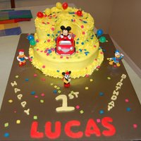 Lucas's 1St Borthday Cake   Mickey mouse cake with butter cream icing. Thanks for looking