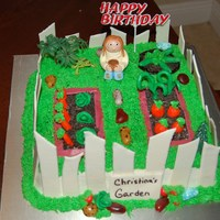Christina's Birthday Cake  I made this for a lady who just planted a garden. Vanilla cake with fondant decorations. The fence is fondant and gumpast mix. Thanks for...