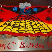Spider Man Cupcake Cake My friends little boy wanted a spiderman cake for his birthday so I made him a cupcake cake and they loved it. All buttercream icing and...