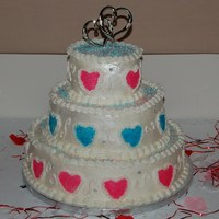 Hearts Wedding Cake  I made this for a couple who couldn't afford the cake so another couple stepped in and paid for it for them. French vanilla, lemon and...
