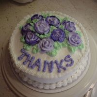 Thank You Cake White cake with buttercream icing.