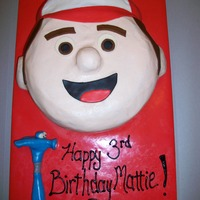 Handy Manny Chocolate cake with buttercream and some fondant. Ears, nose and hat were made of rice krispies.
