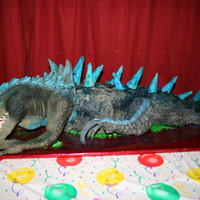 Dinosaur Cake Vinyl puppet head and front leg, body and tail is made of chocolate cake. Dinosaur back spikes are sugar ice cream cones, harry potter...