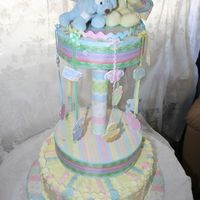 "Baby Shower Carousel fondant ribbon on butter cream 14"" cake"