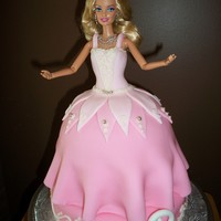 "Barbie Cake This was my first attempt at making a barbie cake. I used a half ball stacked onto a 6"" round for the skirt, and stacked that onto an..."