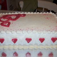 Valentines Day Cake buttercream icing, with rbc hearts