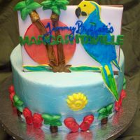 Margaritaville Main focus was to be the Margaritaville sign.... All in fondant. The for the borders I molded trees and flip flops out of fondant then...