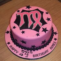 Pink & Black Virgo Covered w/ and details all fondant. The birthday girl requested glitz & glam and her astro sign. Thanks for looking :)