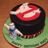 Ghostbusters Cake Fondat covered and decorated. Marshmallow man is RCT under gumpaste.